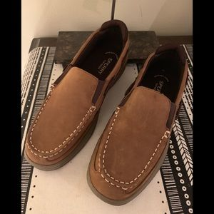 SPERRY TOP-SIDER LEATHER LANYARD BOYS SLIP ON 5M